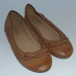 Report Brown Leather Maisi Ballet Flat Slip-On
